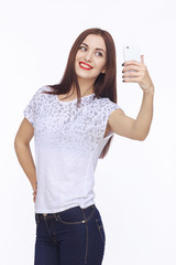 Young happy woman with cellphone