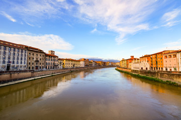 Overview of Pisa city crossed by the Arno river