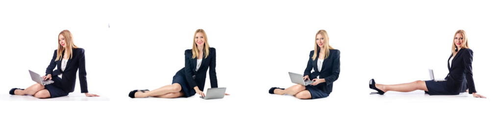 Businesswoman with laptop isolated on white background
