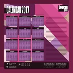 Stylish vector wall calendar 2017