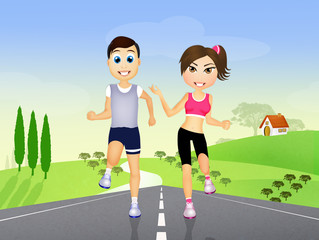 couple runs with headphones for music on countryside