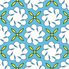 Abstract floral pattern. Blue and yellow textile pattern. Seamless vector background