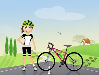 biker girl in the countryside