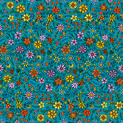 Seamless hand drawn pattern with flowers. Decorative pattern with abstract flowers and leaves. Doodle floral background. Zentangle inspired pattern.