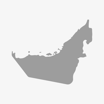 United Arab Emirates map in gray on a white background