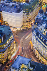 London, England - Aerial view of a busy street of central London at blue hour