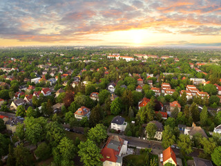 Wall Murals Air photo Aerial View of suburben Houses n sunset - germany