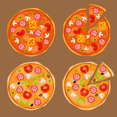 Whole pizza and pizza with separated slice with toppings: onions, black and green olives, mushrooms, tomatoes, yellow and green bell peppers, salami or pepperoni. Vector Illustration