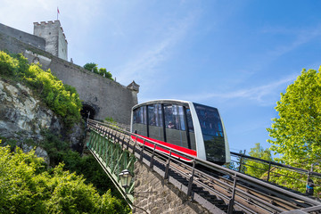 Cable railway, fortress funicular to the Hohensalzburg castle, Salzburg, Austria