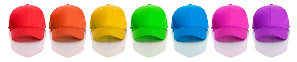 Baseball: Row of Rainbow Colored Baseball Caps