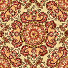 Abstract floral pattern Oriental flower ornamental Geometric seamless background