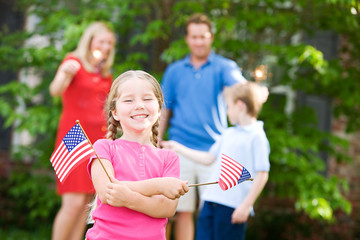 Summer: Cute Girl with American Flags