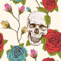 Seamless background pattern. Skull with roses and buds. Vintage style. Hand drawn. Vector - stock.