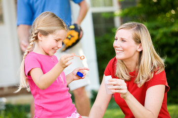 Summer: Blowing Bubbles with Mom