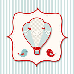Vintage theme with retro hot air balloon, illustration