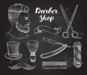 Vector vintage hand drawn Barber Shop set on chalkboard.