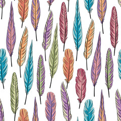 Feather seamless pattern. Vector ornamental background with bird feathers