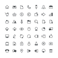 Business, office, contacts, shop, money, system and website total vector icon set - 49 different symbols on the white background