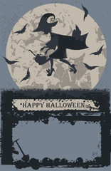 Halloween card with stylish flying witch