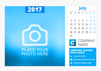 Desk calendar for 2017 year. Vector print template with place for photo. July. Week starts Monday. Calendar page. Stationery design