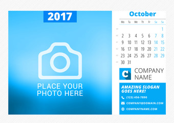 Desk calendar for 2017 year. Vector print template with place for photo. October. Week starts Monday. Calendar page. Stationery design