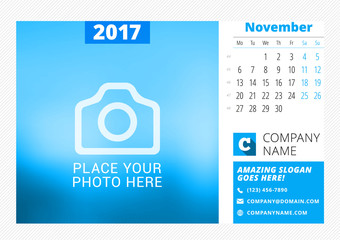 Desk calendar for 2017 year. Vector print template with place for photo. November. Week starts Monday. Calendar page. Stationery design