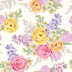 Spring bouquets on the white background. Vector seamless pattern with delicate flowers. Rose, lilac, tulip, matthiola. Pastel yellow, pink, serenity colors.
