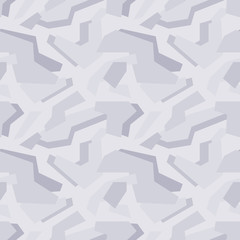 Abstract vector geometric light-grey camouflage seamless pattern
