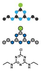 Simazine herbicide molecule.