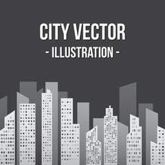 City in Shades of Gray Illustration
