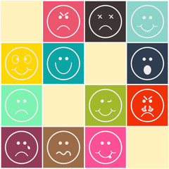 Set Circle Smiles on Color Background. Emoji icons. EPS10.