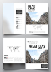 Set of business templates for brochure, magazine, flyer, booklet or annual report. Polygonal background, blurred image, urban landscape, modern stylish triangular vector texture