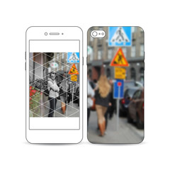 Mobile smartphone with an example of the screen and cover design isolated on white background. Polygonal background, blurred image, urban landscape, cityscape, modern triangular texture