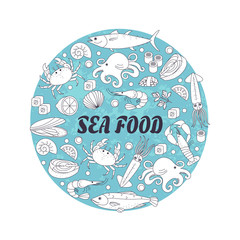 Traditional elements of sea food in a circle shape.Each element is isolated. Emblem or sign for your design.