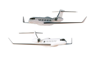 Photo Glossy Luxury Generic Design Private Airplane Model. Clear Mockup Isolated Blank White Background.Business Travel Picture.Left Angle Side View. Horizontal. 3D rendering.