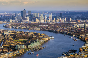 London, England - Aerial skyline view of east London with River Thames and the skyscrapers of Canary Wharf at background Wall mural