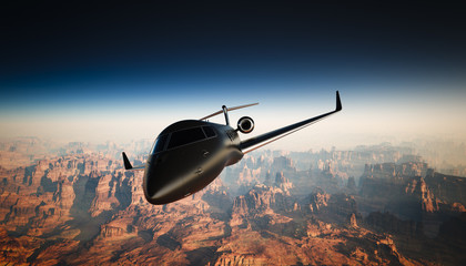 Photo of Black Matte Luxury Generic Design Private Jet Flying in Sky under the Earth Surface. Grand Canyon Background. Business Travel Picture. Horizontal, front angle view. Film Effect. 3D rendering.