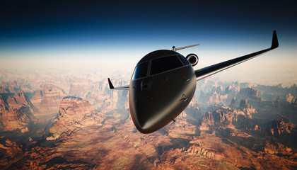 Closeup Black Matte Luxury Generic Design Private Jet Flying in Sky under the Earth Surface. Grand Canyon Background. Business Travel Picture. Horizontal, front angle view. Film Effect. 3D rendering.