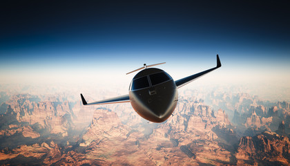 Photo Cabin Black Matte Luxury Generic Design Private Jet Flying in Sky under Earth Surface. Grand Canyon Background. Business Travel Picture. Horizontal, front view. Film Effect. 3D rendering.