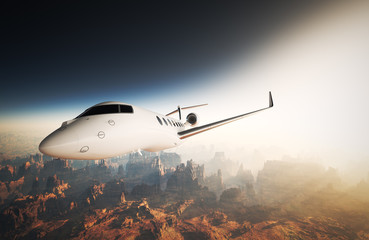 Photo White Glossy Luxury Generic Design Private Jet Flying in Sky under Earth Surface.Grand Canyon Background Sunset. Business Travel Picture.Horizontal,Right side View.Film Effect. 3D rendering.