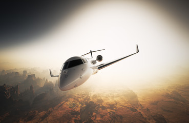 Photo White Glossy Luxury Generic Design Private Jet Flying in Sky under Earth Surface.Grand Canyon Background Sunset. Business Travel Image.Horizontal,Left Angle View.Film Effect. 3D rendering.