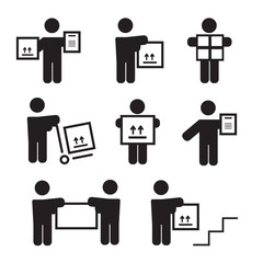 Logistic people pictograms. Logistic worker, man delivery