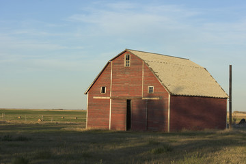 An Old Red Barn in North Dakota
