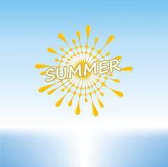 Summer Sunny Day on a Tropical Beach, Stylized Sun, Vector Graphics