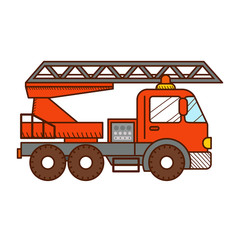 Fire truck isolated on white background. Vector illustration