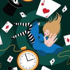 Seamless Alice in Wonderland pattern. EPS 10 vector.