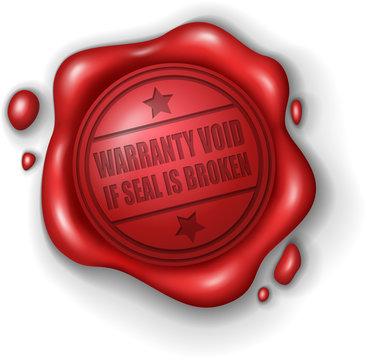 Warranty void if seal is broken wax seal stamp realistic