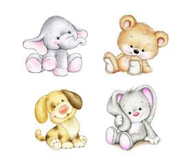 Set of animals - elephant, bunny, bear, dog