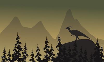 On cliff parasaurolophus silhouette