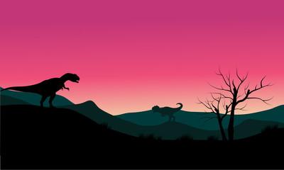 allosaurus at morning scenery silhouette